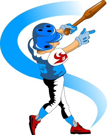 batter: illustration of a young baseball player jumping with the ball; Illustration