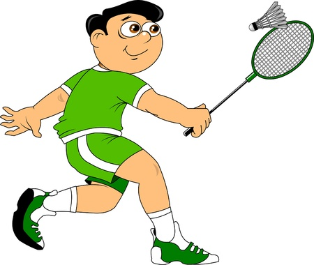 teenager in a green uniform playing badminton