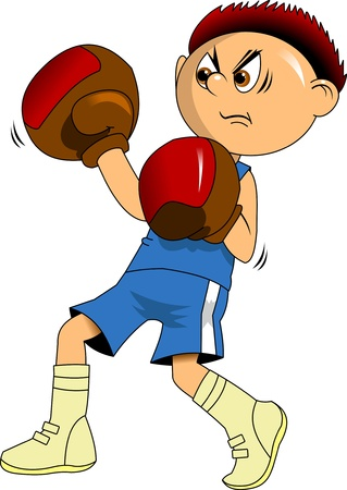 huge boxer in blue boxing gloves, illustration Vector