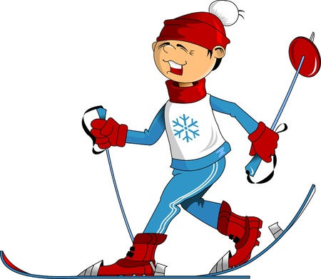 recreational pursuit: cheerful young skier in a red cap on a blue ski