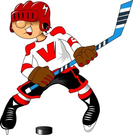 Jeune joueur de hockey gaie attaque de l'adversaire; Banque d'images - 20691338
