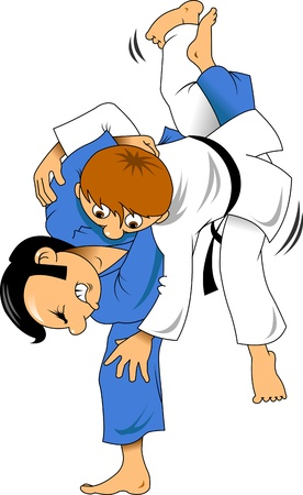 wrestling: Two judo wrestler in a red and white sports uniforms;