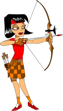 girls with bows: girl in a red T-shirt shooting a bow sports, illustration