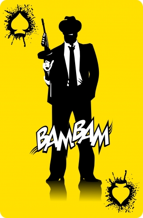 men in black suits with a weapon, vector, illustration 向量圖像