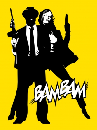 women with guns: men and woman in black suits with a weapon, vector, illustration