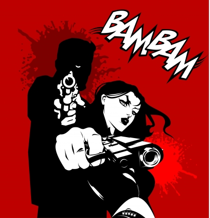 war crimes: men and woman in black suits with a weapon, vector, illustration