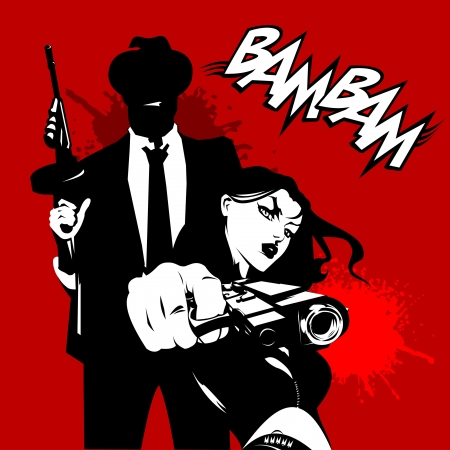 game gun: men and woman in black suits with a weapon, vector, illustration