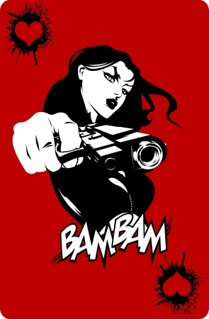 gangster with gun: woman in black suits with a weapon, vector, illustration Illustration