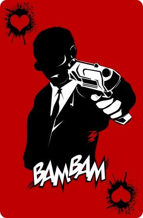 pandilleros: hombres de traje negro con un arma, vector, ilustración