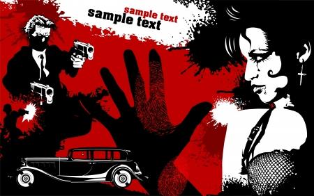mujer con pistola: hombres y mujeres de traje negro con un arma, vector, ilustración