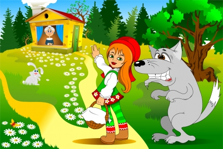 cartoon little red riding hood: old story in modern processing, illustration, vector