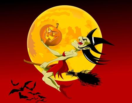 strega che vola: illustrazione vettoriale di halloween strega volare sulla scopa;