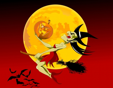wicked: vector illustration of halloween witch flying on broom;