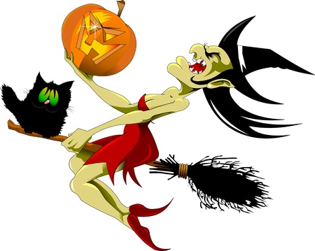 ugly girl: vector illustration of halloween witch flying on broom;