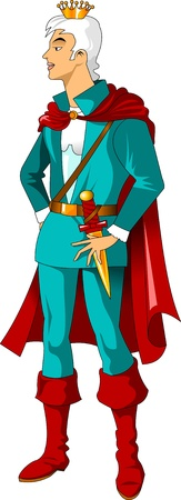 prince wearing a crown and a red cloak, vector illustration Vector