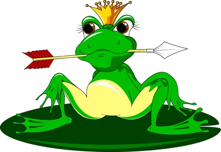 enchanted fairytale frog with an arrow in the mouth, illustration Vector