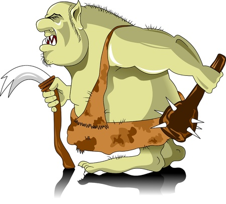 goblin: green and armed with a troll in the skin of a leopard, illustration Illustration