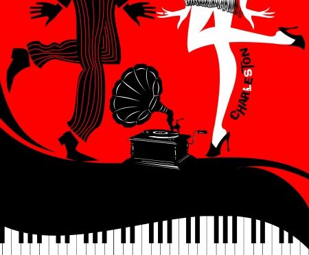 Retro Dansers Op Een Vinyl Record - Retro illustratie