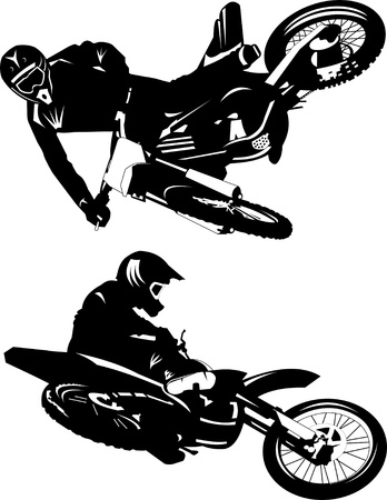 motorbike jumping: A silhouette of a motorcycle racer commits high jump Illustration