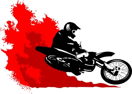 commits: silhouette of a motorcycle racer commits high jump;
