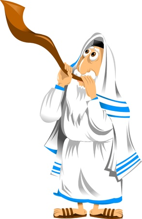 shofar: Religious Jew blowing the shofar on the holiday;  Illustration