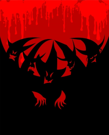 coven: coven on red black background, vector, illustration Illustration