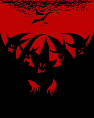 broomstick: coven on red black background illustration