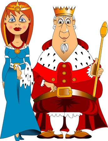 empress: Illustration of a man and woman Dressed as a King and Queen Illustration
