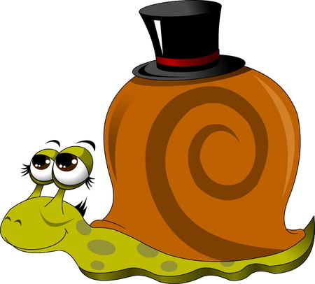 funny snail in a black hat, vector illustration Vector