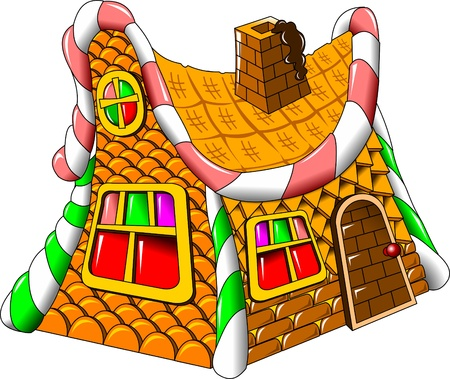 fairy house made of candies; chocolates and cakes, vector Illustration