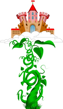 adventure story: ancient castle in the clouds and bean sprout; vector Illustration