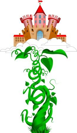 oude kasteel in de wolken en tauge; vector Stock Illustratie