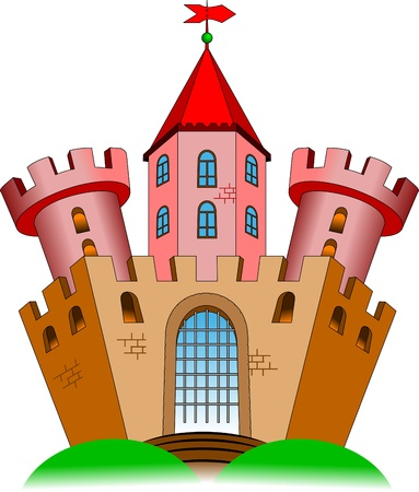 citadel: old castle with two towers. Vector-illustration