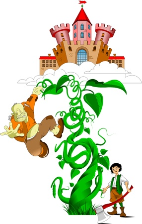 ancient castle in the clouds and bean sprout, vector Illustration