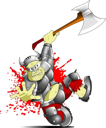 crusader: terrible knight with a huge ax attack through;  Illustration