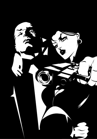 woman and man in black suits with a weapon, vector illustration