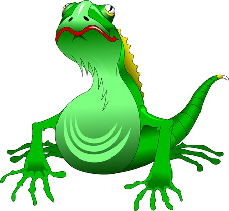 green lizard with a red mouth, vector, illustration