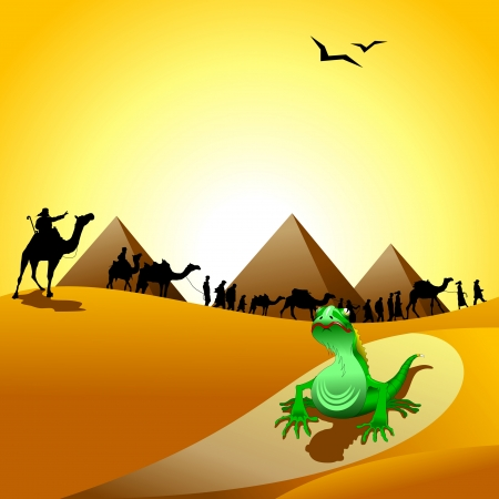 droughts: Caravan of camels going through the desert, illustration, vector