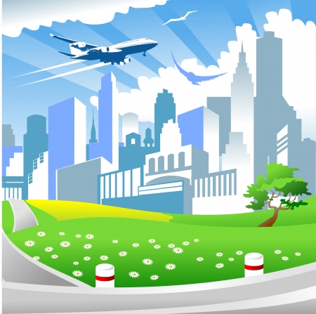web design company: big city with tall buildings and airplane flying in the sky Illustration