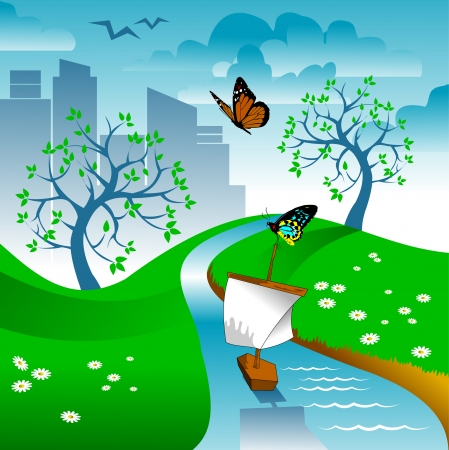 spring time: River and green landscape - vector illustration