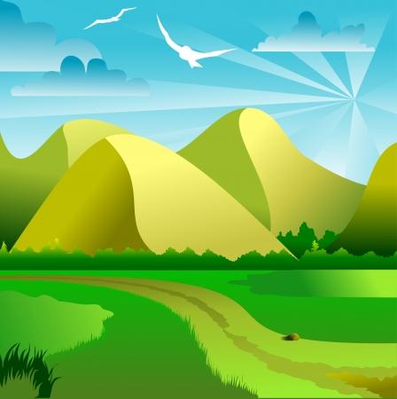 farm land: vector illustration of green landscape of sunny morning Illustration