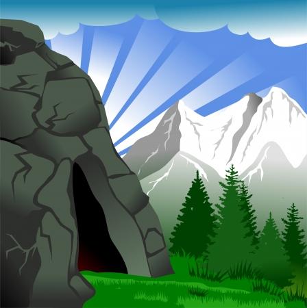 grotte: Vert paysage de pr�s, de for�ts et de montagnes sur fond de ciel nuageux Illustration