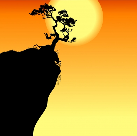 steep cliff: Hi single lonely tree on a precipice, vector-illustration
