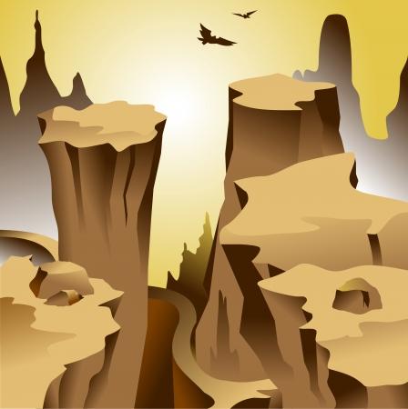 The road runs along the grand canyon; and vector illustration;  Vector