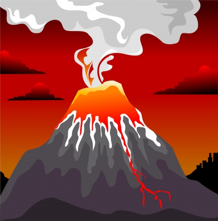 magma: eruption of the volcano on the background of the red sky, vector and illustration