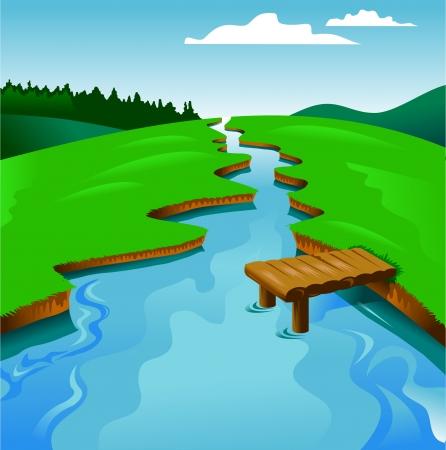 blauen Fluss auf dem Hintergrund der grünen Landschaft, Vektor und Illustration