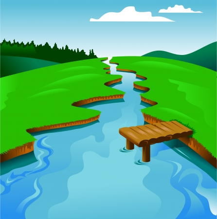 flowing: blue river on a background of green landscape, vector and illustration
