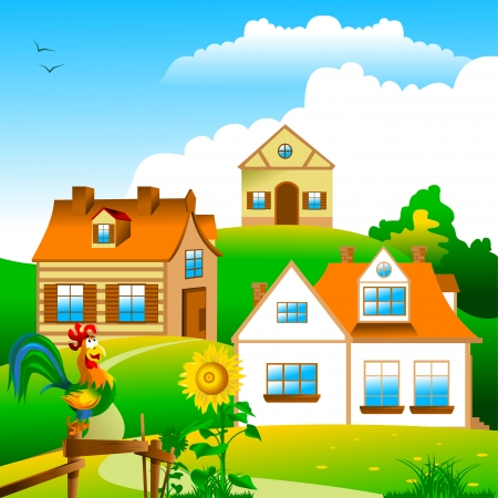 small village of a few houses and gardens; illustration;  Vector