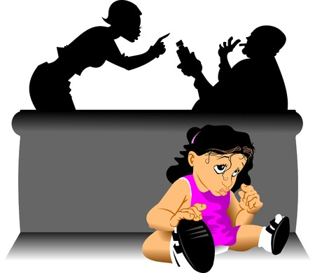 maltrato infantil: fila de la familia sobre la bebida, vector de la ilustraci�n;