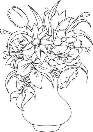mazzo di fiori: Bouquet di fiori di estate in un vaso bianco, vettoriale e illustrazione